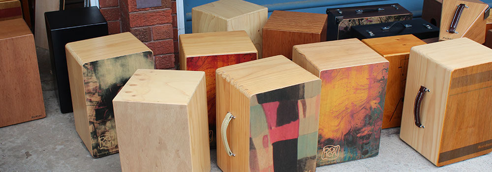 a large selection cajon drums